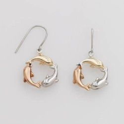 Jewelry for Trees 14k Gold and Sterling Silver Tri-Tone Dolphin Drop Earrings, Women's, multicolor