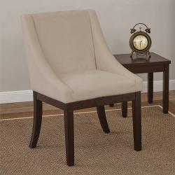 Ave Six Easy-Care Velvet Wingback Monarch Chair, White