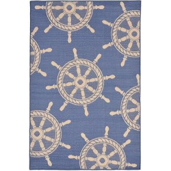 Terrace Indoor/Outdoor Shipwheel Marine Rug 4'10″X7'6″ Blue – Liora Manne