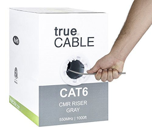Cat6 Riser (CMR), 1000ft, Gray, 23AWG 4 Pair Solid Bare Copper, 550MHz, ETL Listed, Unshielded Twisted Pair (UTP), Bulk Ethernet Cable, trueCABLE