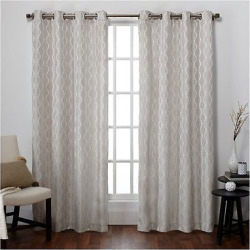 Baroque Textured Linen Look Jacquard Window Curtain Panel Pair Dove Gray (54″x96″) – Exclusive Home