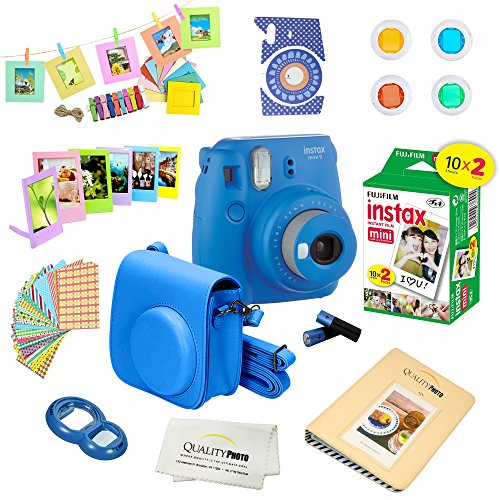 Fujifilm Instax Mini 9 Instant Camera COBALT BLUE w/ Film and Accessories – Polaroid Camera Kit
