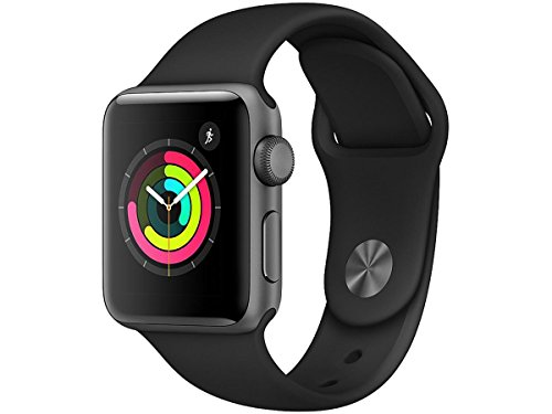Apple Smart Watch 38mm Watch Series 3 – GPS – Space Gray Aluminum Case with Black Sport Band – 38mm