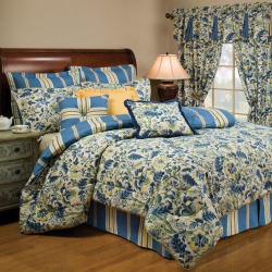 Waverly Imperial Dress 4-pc. Reversible Comforter Set, Blue