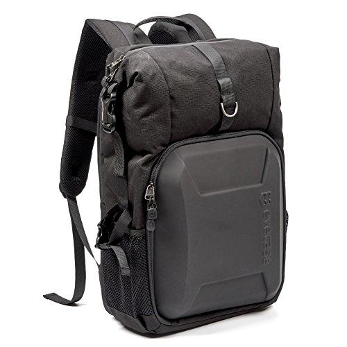 Camera Bag, Evecase Shell DSLR Camera/15.6-inch Laptop Double Buckle Water Resistant Backpack Travel Rucksack w/Rain Cover for Nikon Canon Fujifilm Sony Digital SLR, Mirrorless Camera – Black