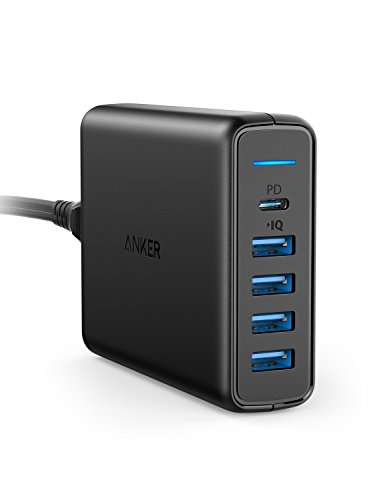 USB C Wall Charger, Anker Premium 60W 5-Port Desktop Charger with One 30W Power Delivery Port for Apple MacBook, Nexus 5X/6P, and 4 PowerIQ Ports for iPhone, iPad, and More