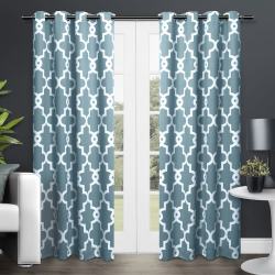 Exclusive Home 2-pack Ironwork Blackout Thermal Window Curtains – 104″ x 84″, Blue