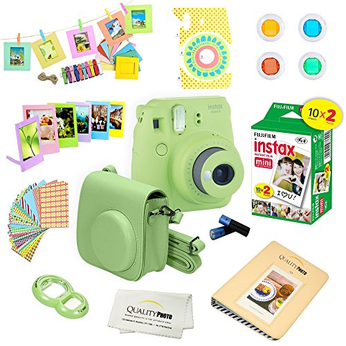 Fujifilm Instax Mini 9 Instant Camera LIME GREEN w/ Film and Accessories – Polaroid Camera Kit