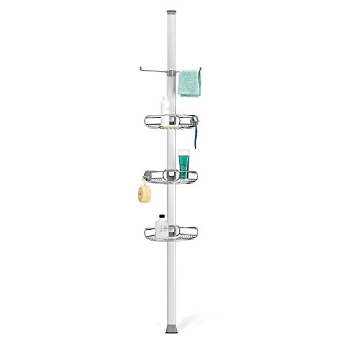 simplehuman Tension Shower Caddy, Fits In Corners, Rust-Proof Stainless Steel And Anodized Aluminum