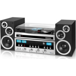 Innovative Technology Bluetooth CD Stereo with Record Player, Silver