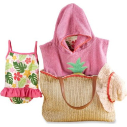 Baby Girl Baby Aspen Tropical Cover-up, Swimsuit, Hat & Tote Gift Set, Pink