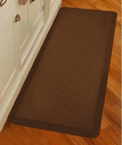 WellnessMats Anti-Fatigue Trellis Motif Kitchen Mat, 72 Inch by 24 Inch, Brown