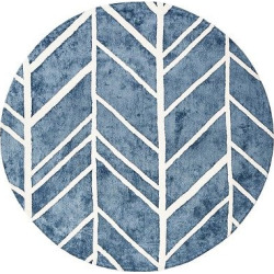 Blue Shapes Tufted Round Area Rug – (6′) – Anji Mountain