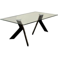 ioHomes Clear Glass Table Top Dining Table Wood/Espresso