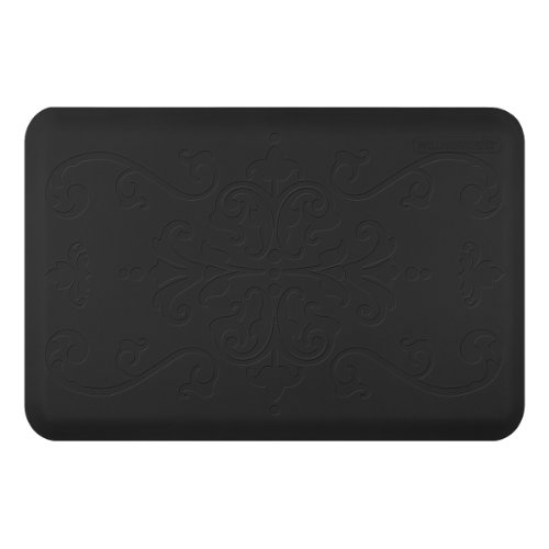 WellnessMats Anti-Fatigue Entwine Motif Kitchen Mat, 36 Inch by 24 Inch, Black
