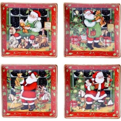Certified International Santa's Workshop Assorted Dinner Plates Set of 4 (10.25)