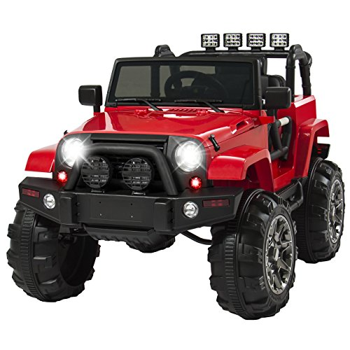 Best Choice Products 12V Ride On Car Truck w/ Remote Control, 3 Speeds, Spring Suspension, LED Light – Red