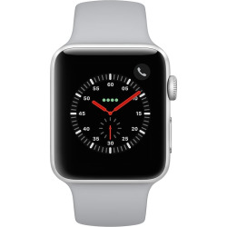 Apple Watch Series 3 (GPS + Cellular) 42mm Silver Aluminum Case with Fog Sport Band, Grey