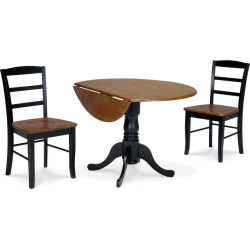 Madrid 3-pc. Drop-Leaf Dining Table and Chair Set, Black