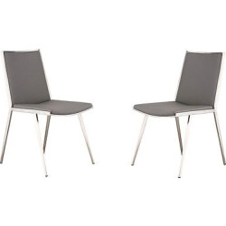 Ibiza Brushed Stainless Steel Dining Chair Steel/Gray Pu (Set of 2) – Armen Living