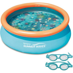 Blue Wave 7-Foot 3D Fast Set Round Family Pool, Multicolor