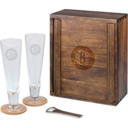Picnic Time Brooklyn Nets Pilsner Beer Gift Set for 2, Brown