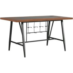 Saroyan Glass Top Counter Height Wood & Metal Table – Graphite (Grey) – Inspire Q