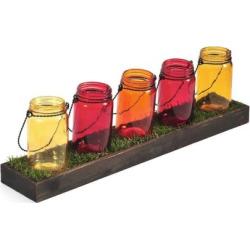 Pfaltzgraff Mason Jar & Faux Grass Tealight Candle Holder, Multicolor