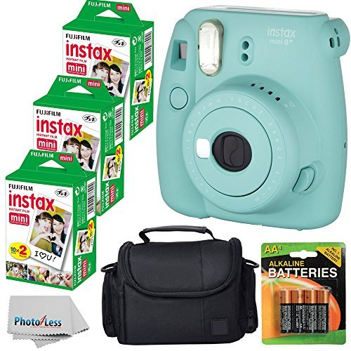 Fujifilm Instax Mini 8+ (Mint)Instant Film Camera W/ Self Shot Mirror + Fujifilm Instax Mini 3 Pack Instant Film(60 Shoots) + Case + Batteries Top Kit – International Version (No Warranty)