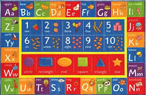 KC CUBS Kev & Cooper Playtime Collection ABC, Numbers and Shapes Educational Area Rug – 5'0″ x 6'6″
