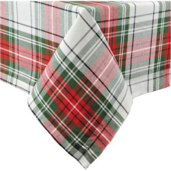 Green Merry Christmas Plaid Tablecloth (60″X104″) – Design Imports, Green Red
