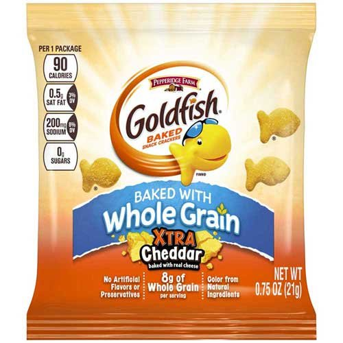 Goldfish Baked with Whole Grain Xtra Cheddar Crackers, 0.75 Ounce – 300 per case.
