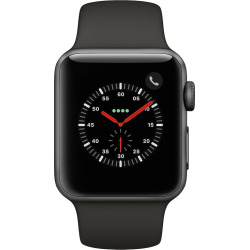 Apple Watch Series 3 (GPS + Cellular) 38mm Space Gray Aluminum Case with Black Sport Band, Grey