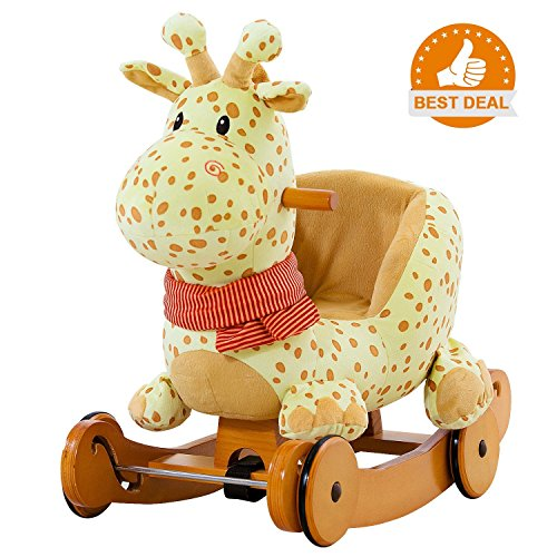 labebe Child Rocking Horse Plush, Stuffed Animal Rocker Toy, 2 in 1 Yellow Giraffe Rocker with wheel for Kid 6-36 Months, Rocking Toy/Wooden Rocking Horse/Rocker/Animal Ride/Deer Rocker for Boy&Girl