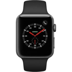 Apple Watch Series 3 (GPS + Cellular) 42mm Space Gray Aluminum Case with Black Sport Band, Grey