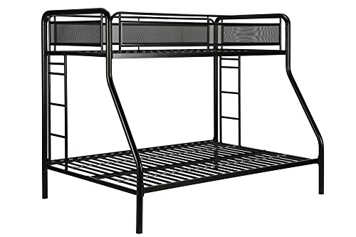 DHP Rockstar Metal Bunk Bed Frame, Sturdy Metal Design, Twin-Over-Full – Silver