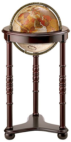 Replogle Lancaster—Bronze Metallic, Dark Cherry Wood Finish, Floor Model Globe, Perfect for Anyone Looking for a Elegant Floor Standing Globe That Fits Small Spaces (12″/30 cm diameter)