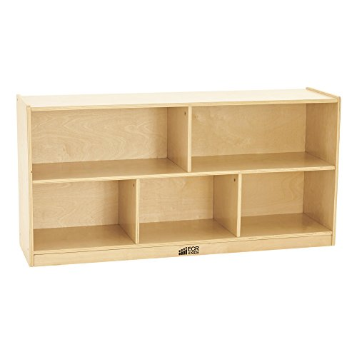 ECR4Kids Birch 5-Section School Classroom Storage Cabinet with Casters, Natural, 24″ H