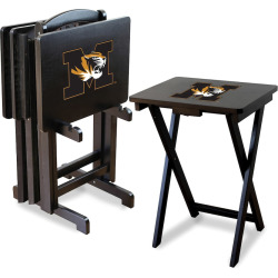 Missouri Tigers TV Trays with Stand, Black