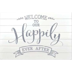 """Sheffield Home """"Happily Ever After"""" Wedding Table Decor, White"""