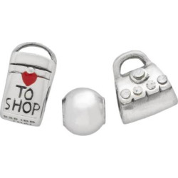 Individuality Beads Sterling Silver Crystal Purse, Bag and Spacer Bead Set, Grey