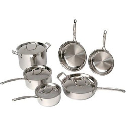 BergHOFF Earthchef 10 Piece 18/10 Stainless Steel Premium Copper Clad Cookware Set – Silver