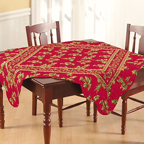 68×102″ Rectangular Quilted Tablecloth, Holly Red, Christmas