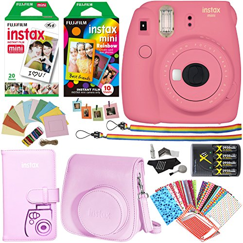 Fujifilm Instax Mini 9 Instant Camera (Flamingo Pink), 1 Rainbow Film Pack, 1 Twin Pack (White) Instant Film, case , 4 AA Rechargeable Battery's with charger, Square Photo Frames & Accessory Bundle