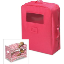 Badger Basket Double Doll Travel Case with Bunk Bed, Pink
