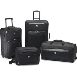 American Tourister Valencia 4-Piece Luggage Set with Boarding Bag, Black