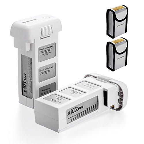 Powerextra 2-Pack 15.2V 4480mAh LiPo Intelligent Replacement Flight Battery + Battery Safe Bag for DJI Phantom 3 SE, Phantom 3 Professional, Phantom 3 Advanced, Phantom 3 Standard, Phantom 3 4K Drones