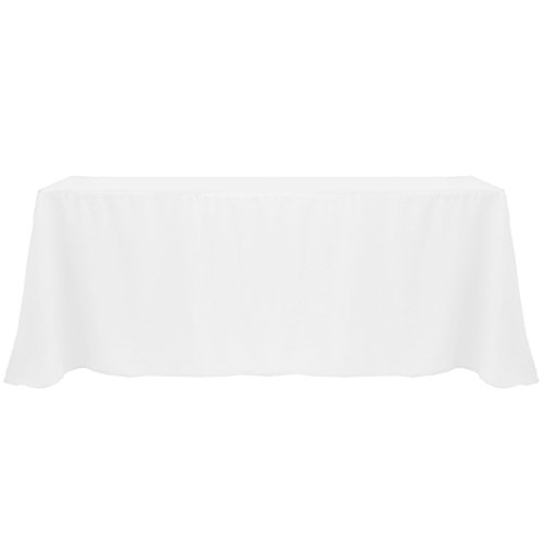 Ultimate Textile 3 Pack 90 x 132-Inch Rectangular Polyester Linen Tablecloth with Rounded Corners – for Wedding, Restaurant or Banquet use, White
