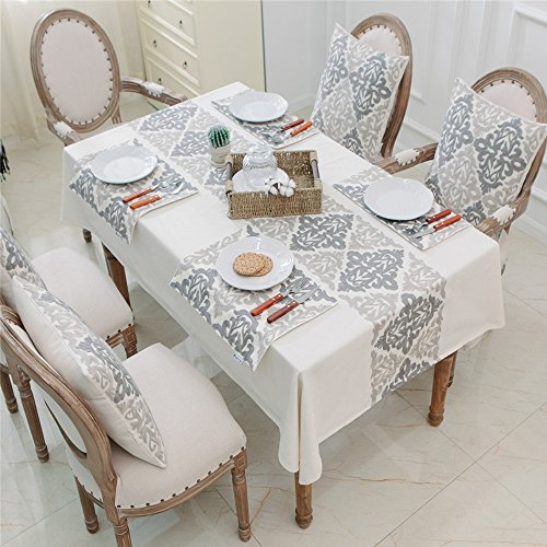 HWY 50 Kitchen Linen Embroidered Set (Includes: One Tablecloth 60 x 84 inch, Four Throw Pillows Covers 18 x 18 inch, Four Placemats 13 x 18 inch)
