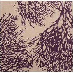 Beige/Purple Botanical Tufted Square Area Rug – (5'X5′) – Safavieh